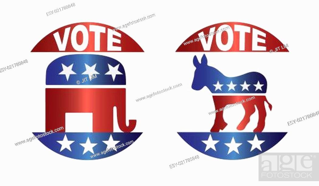 Imagen: Vote Republican and Democrat Buttons Illustration.
