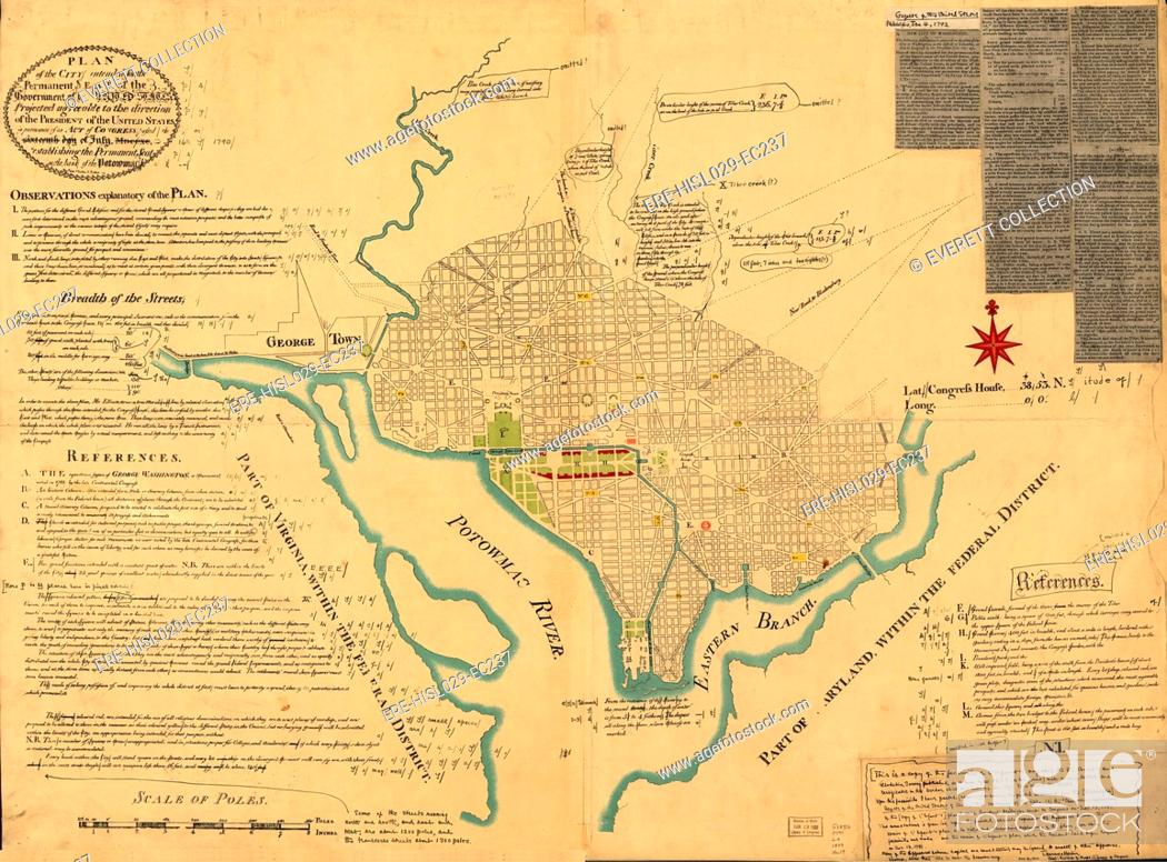 Washington, D.C. Map showing the original plan of what would ...
