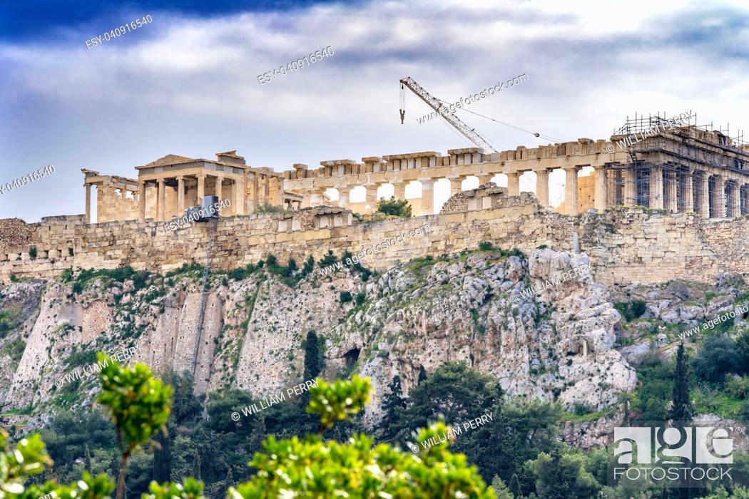 Stock Photo: Temple Erechtheion Parthenon Acropolis Athens Greece. Parthenon created 438 BC symbol of ancient Greece.