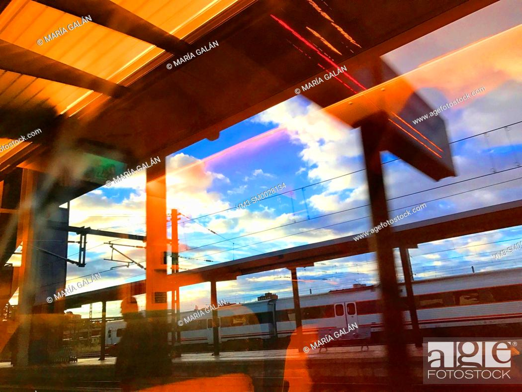 Stock Photo: Railway stationm viewed from a high speed train.