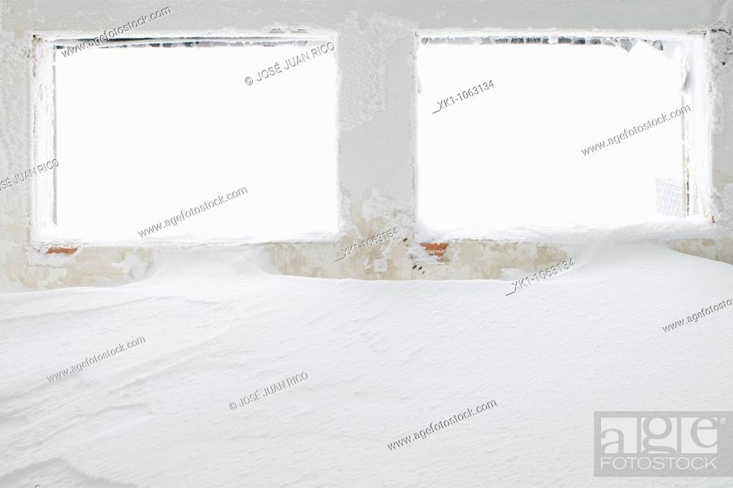 Stock Photo: Abandoned Club Alpino ski club, Navacerrada, Madrid province, Spain.