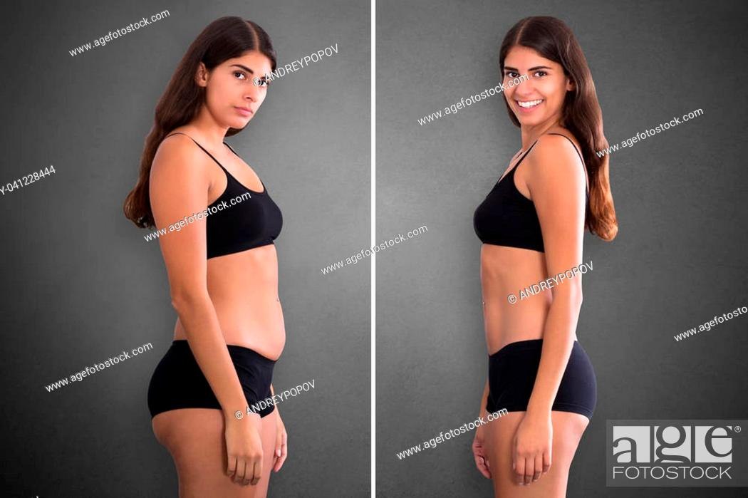 Imagen: Portraits Of Woman Before And After From Fat To Slim Concept Standing Against Grey Background.