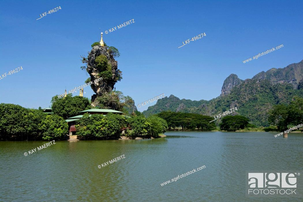 Stock Photo: Kyauk Ka Lat Pagoda near Hpa-An, Karin State, Myanmar, Burma, Asia.