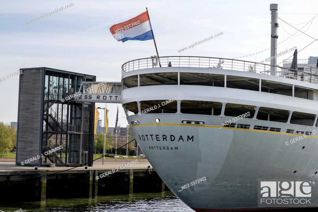 Stock Photo: Europe, Netherlands, Rotterdam, The SS Rotterdam as she is today, permanently moored as a hotel and museum.