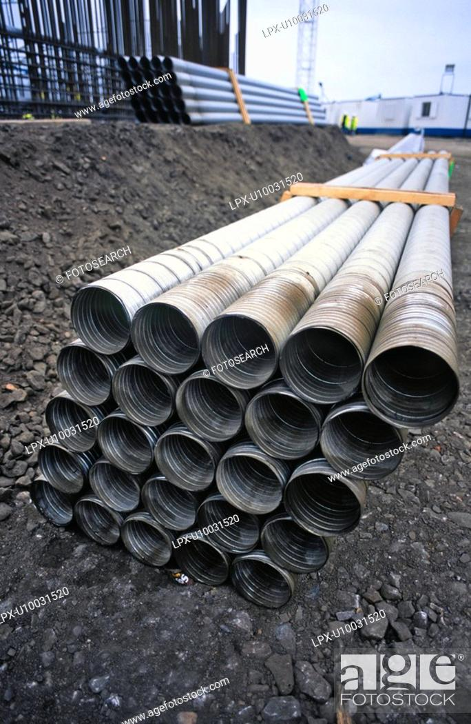 Stock Photo: Corrugated pipes.