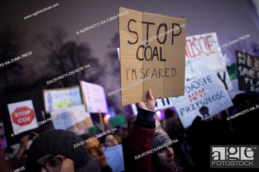 Stock Photo: February 15, 2019 - Warsaw, Poland - Stop coal i am scared banner seen in Warsaw on February 15, 2019. (Credit Image: © Maciej Luczniewski/NurPhoto via ZUMA.