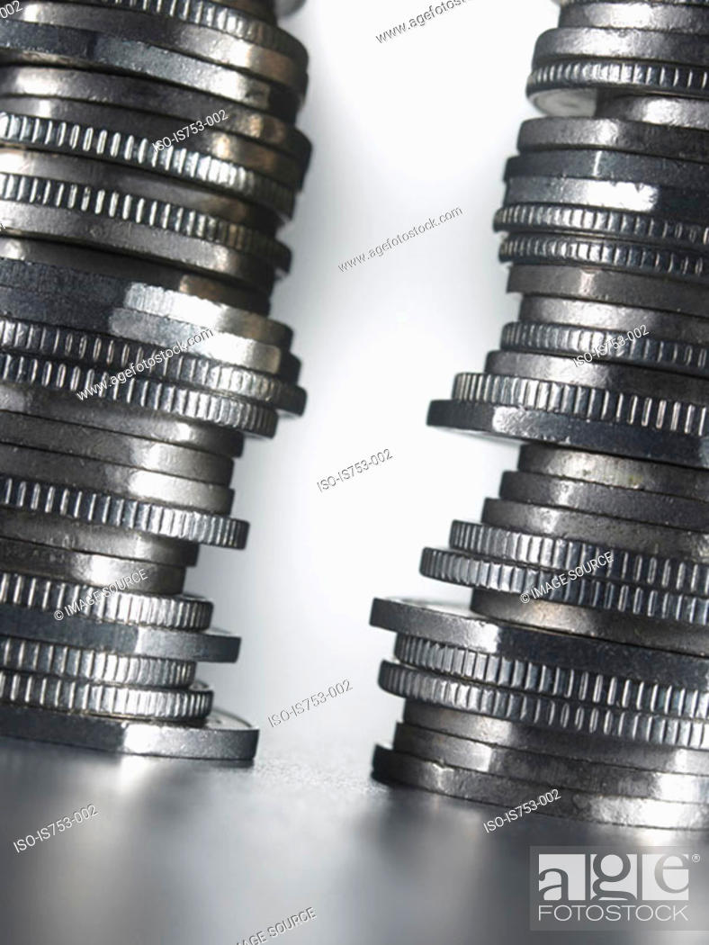 Stock Photo: Piles of coins.