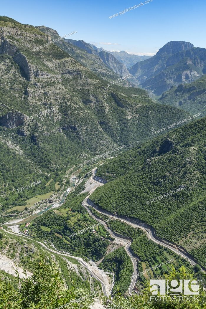 Stock Photo: Looking down on The Cem River Valley and SH 20 road at Grabom, Kelmend in Northern Albania, just below the border with Montinegro. Albania.
