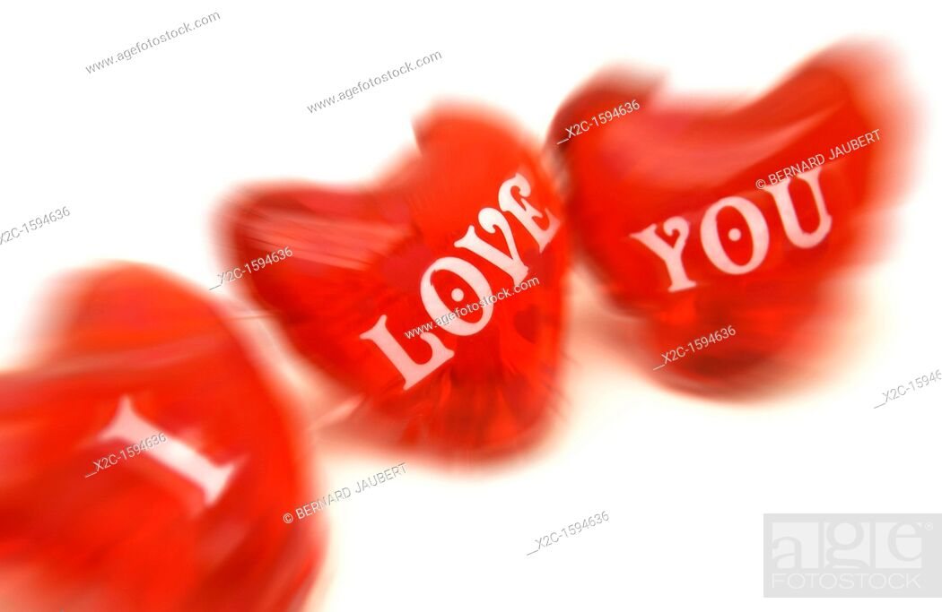 Stock Photo: Red hearts, labelled 'I love you'.