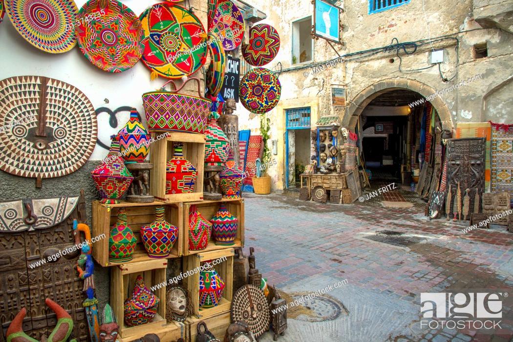 Stock Photo: market stall in medina of Essaouira in Maroc.