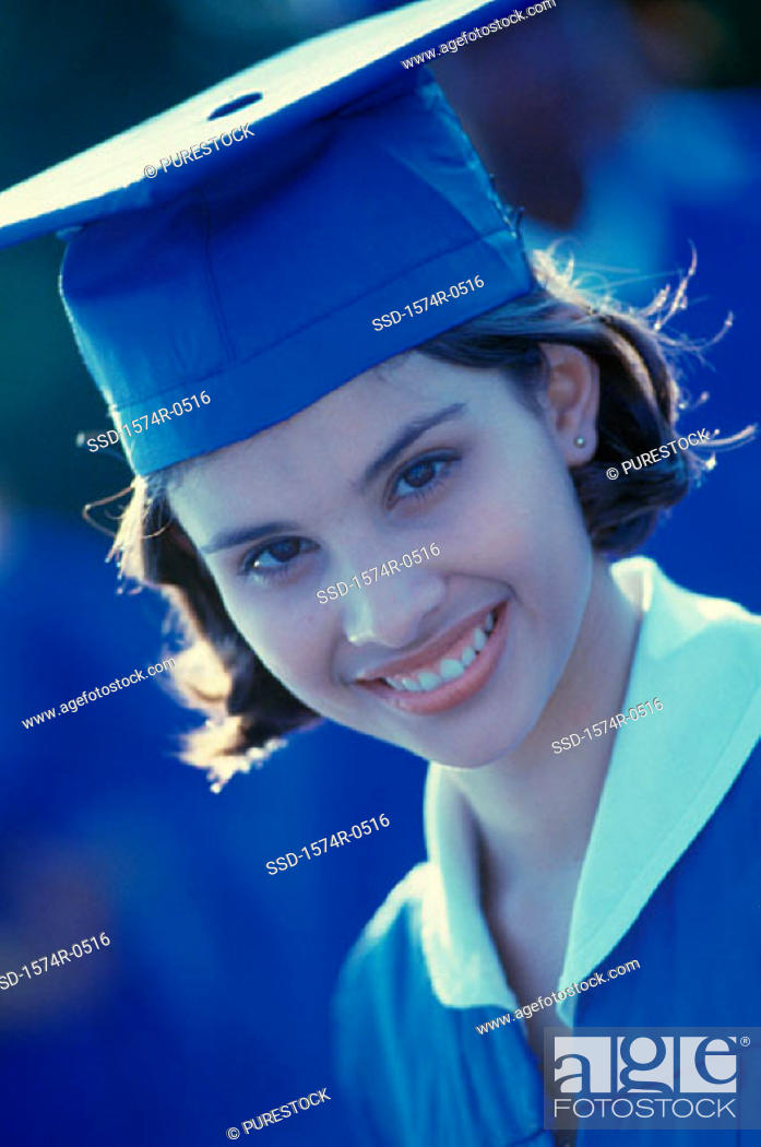 Stock Photo: Portrait of a student wearing her graduation outfit.