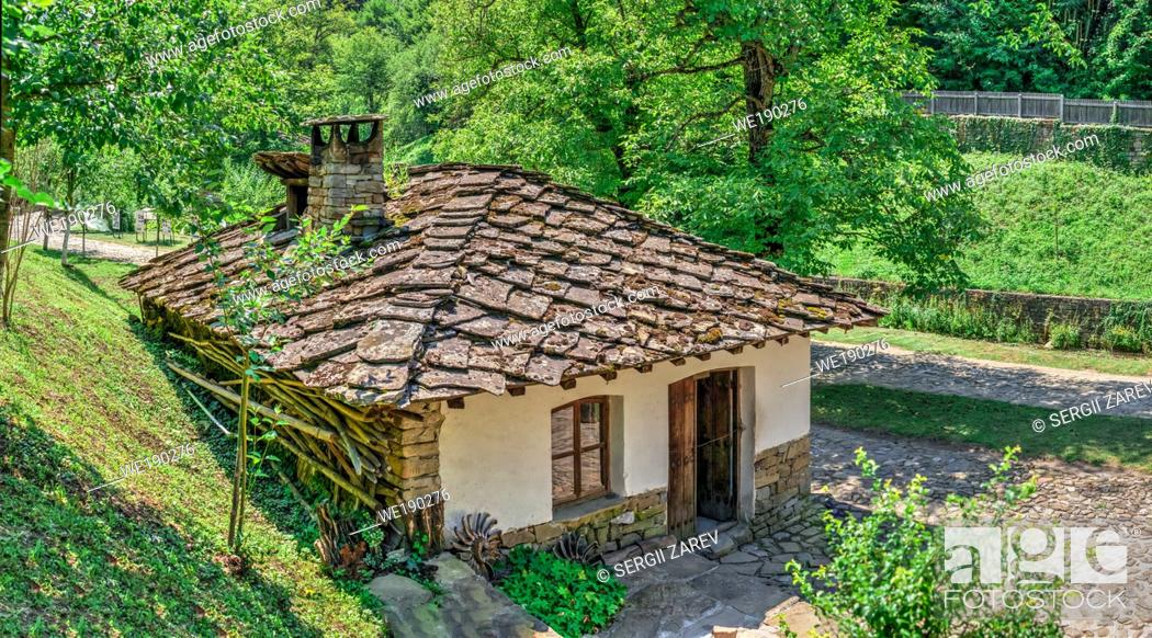 Stock Photo: Etar Architectural Ethnographic Complex in Bulgaria on a sunny summer day. Big size panoramic photo.