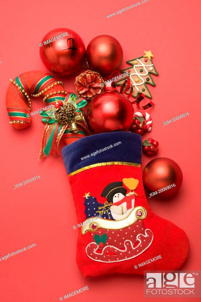 Stock Photo: Christmas Stocking and decorations.