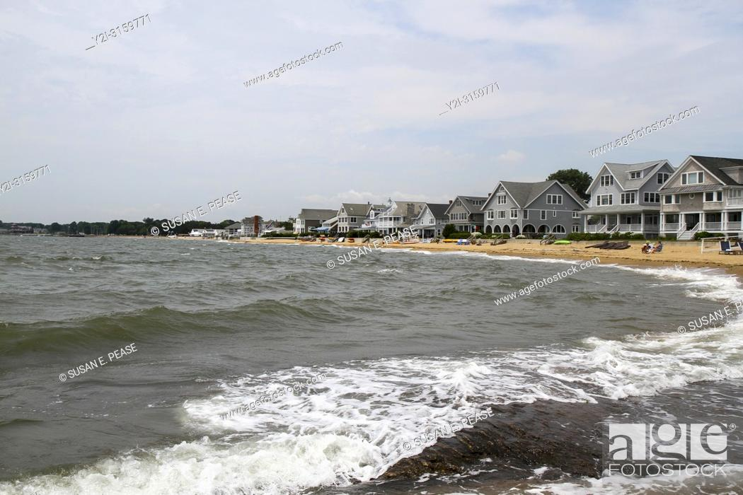 Stock Photo: Beachfront homes in Madison, Connecticut, United States.