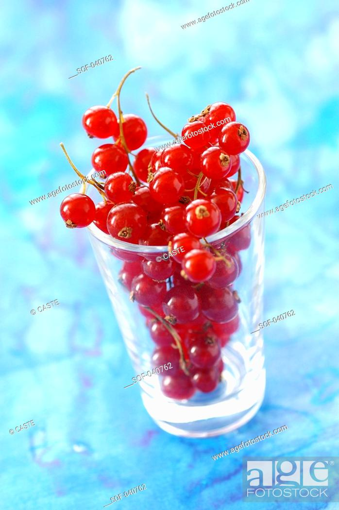 Stock Photo: redcurrants in glass.