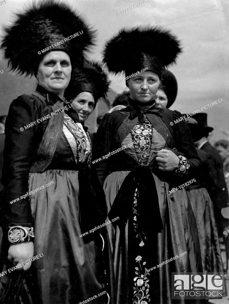 Women of the Montafon (Muntafu) Valley, Austria, wearing