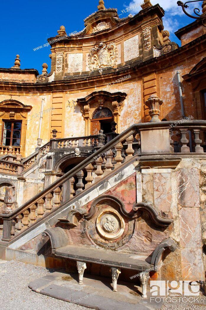 Stock Photo: Garden of Baroque Villa Palagonia, Baghera Sicily.