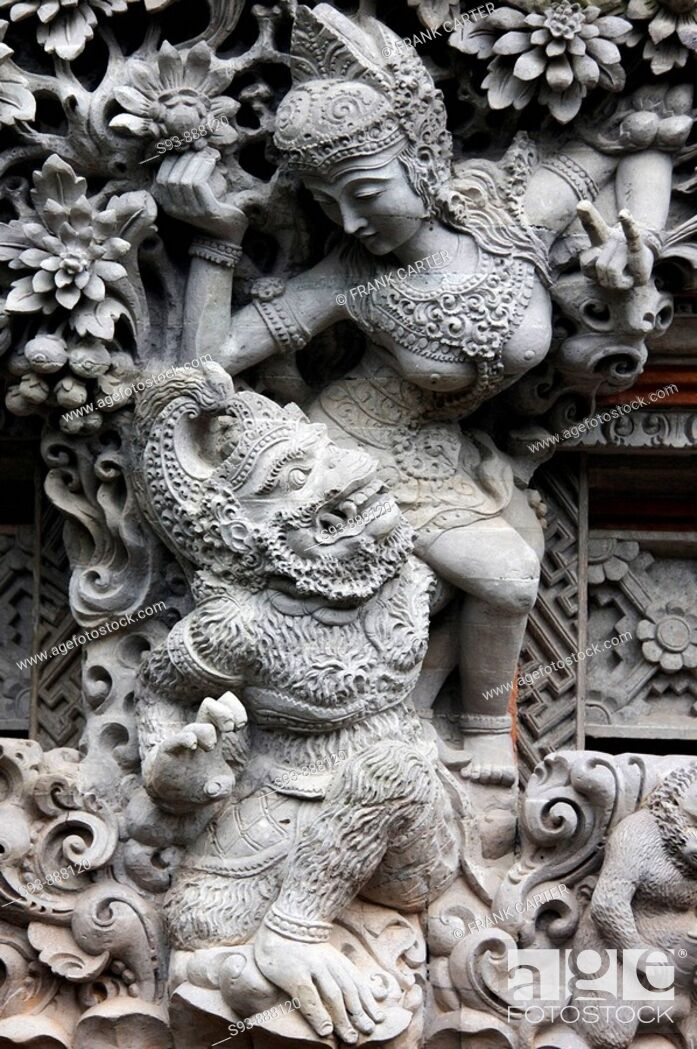 Stock Photo: A sculture of   Balinese Hindu figures in Ubud, Ball.