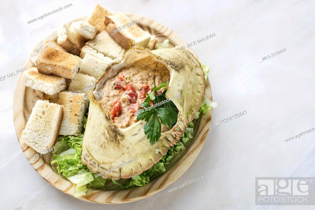 Stock Photo: fresh portuguese crab seafood cream mousse with toast tapas snack.