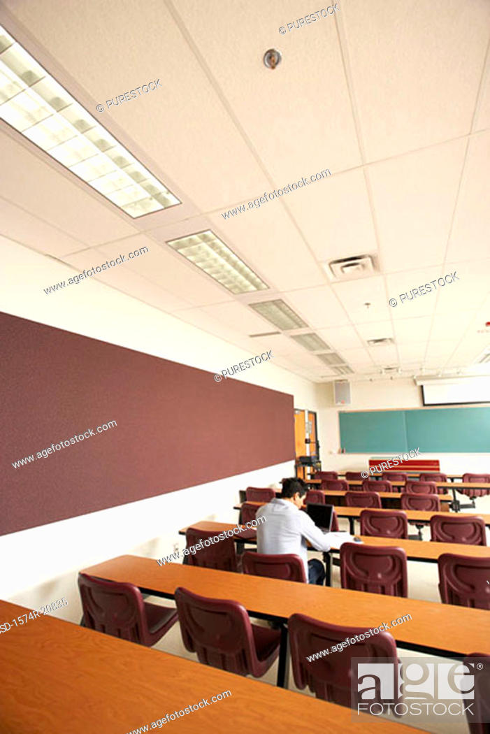 Stock Photo: Rear view of a college student sitting in a lecture hall and using a laptop.