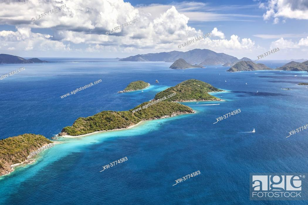 Stock Photo: Aerial view of Mingo and Lovango cays near the island of St. John in the United States Virgin Islands.