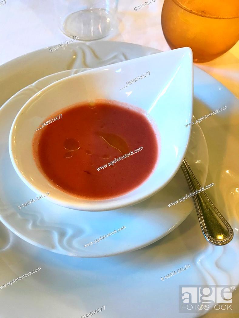 Stock Photo: Cherry gazpacho. Spain.