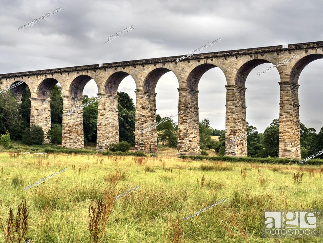 Stock Photo: Arches of the Crimple Valley Viaduct designed by George Hudson near Pannal Harrogate North Yorkshire England.