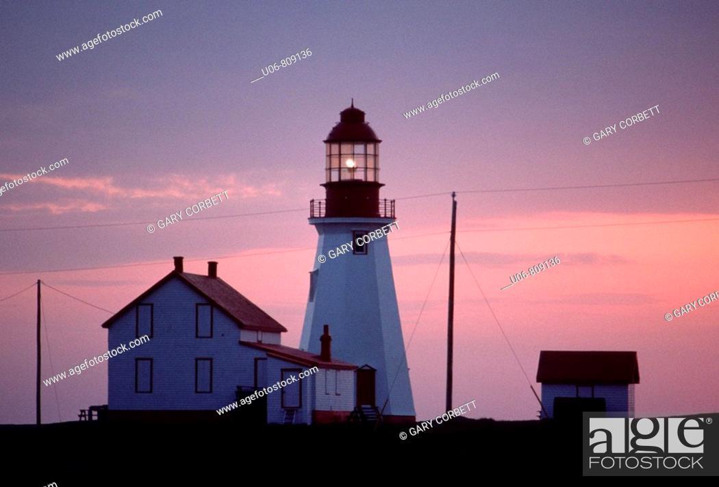 Stock Photo: Port Aux Choix Lighthouse Newfoundland Canada.