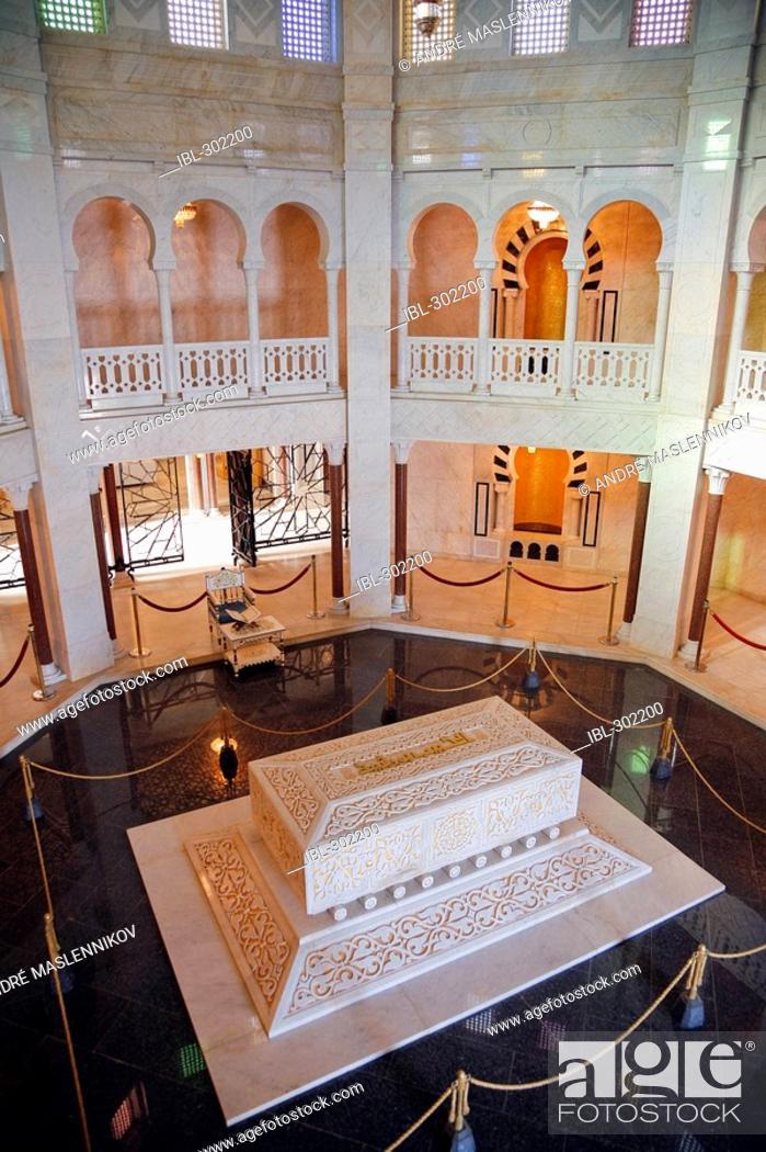 Stock Photo: Habib Bourguiba mausoleum and sarcophag,us in Monastir. Tunisia.