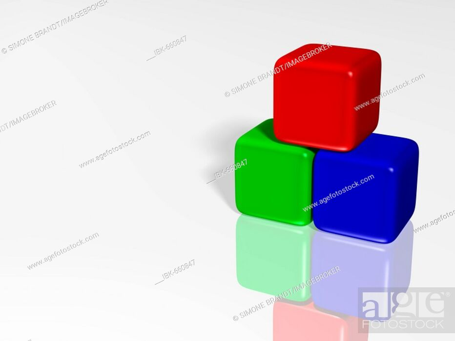 Stock Photo Blue Red And Green Cubes On A Shiny White Surface 3 D Ilration