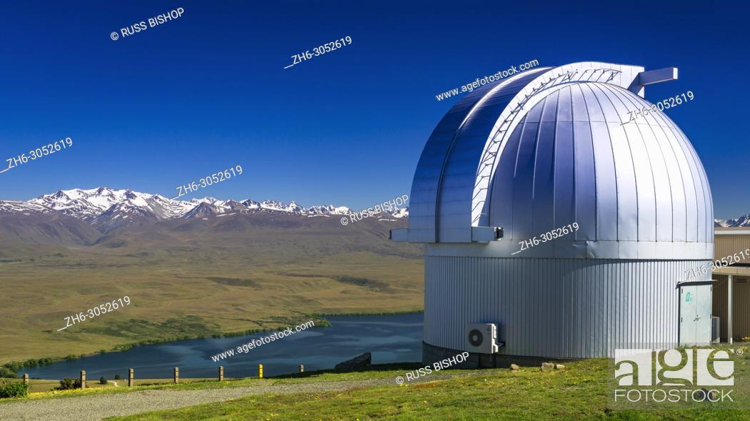 Stock Photo: Lake Alexandrina and the Southern Alps from the Mt. John Observatory, Tekapo, Canterbury, South Island, New Zealand.