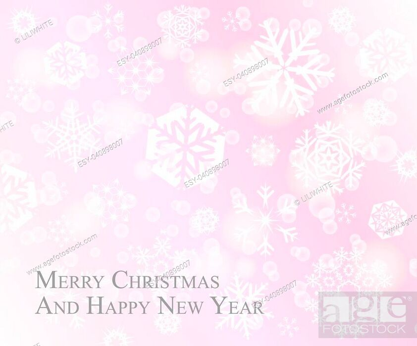 Stock Vector: Light Christmas postcard with white snowflakes on pink rose background.