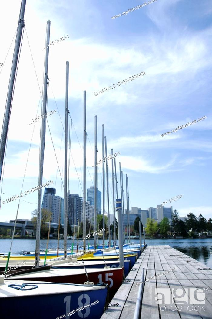 Stock Photo: Boats moored in the harbour, Alte Donau, Vienna, Austria.