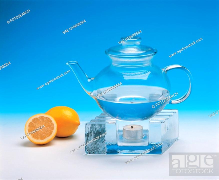 Stock Photo: lemon, teapot, house item, kettle.