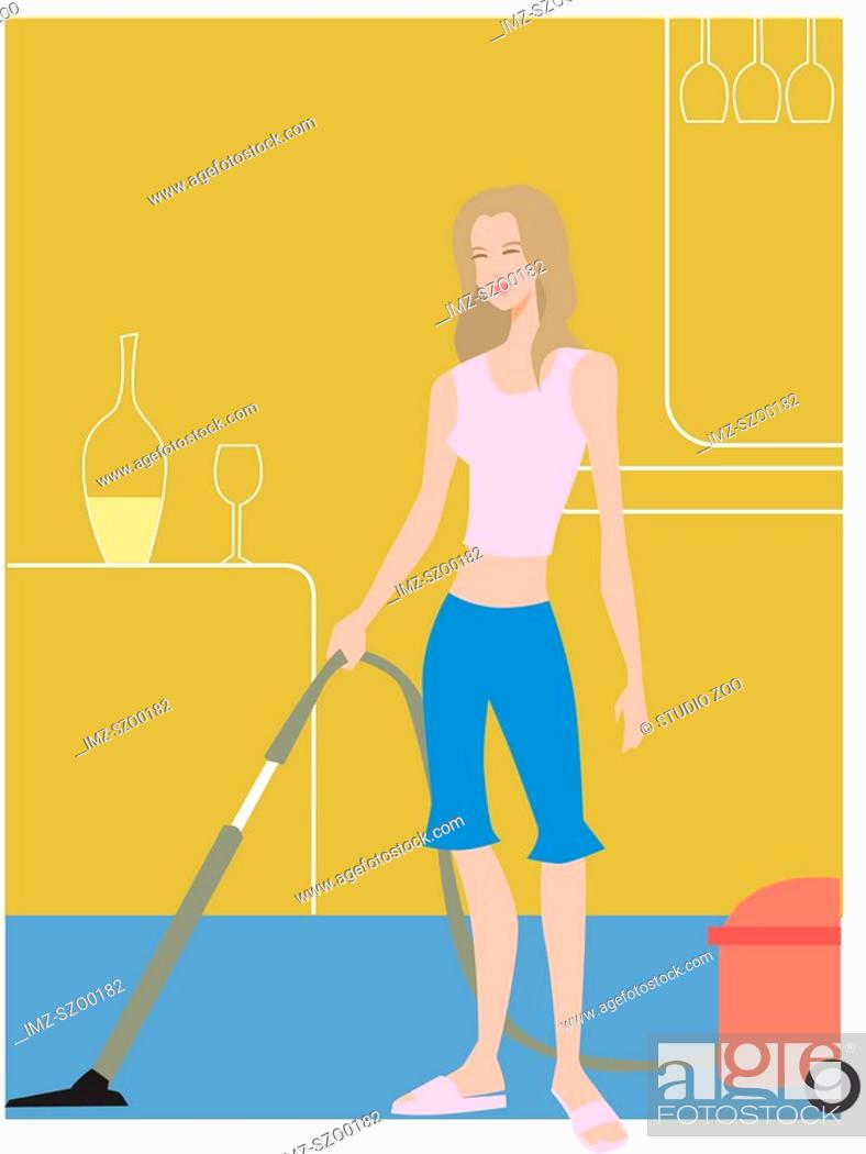 Stock Photo: Woman vacuuming.
