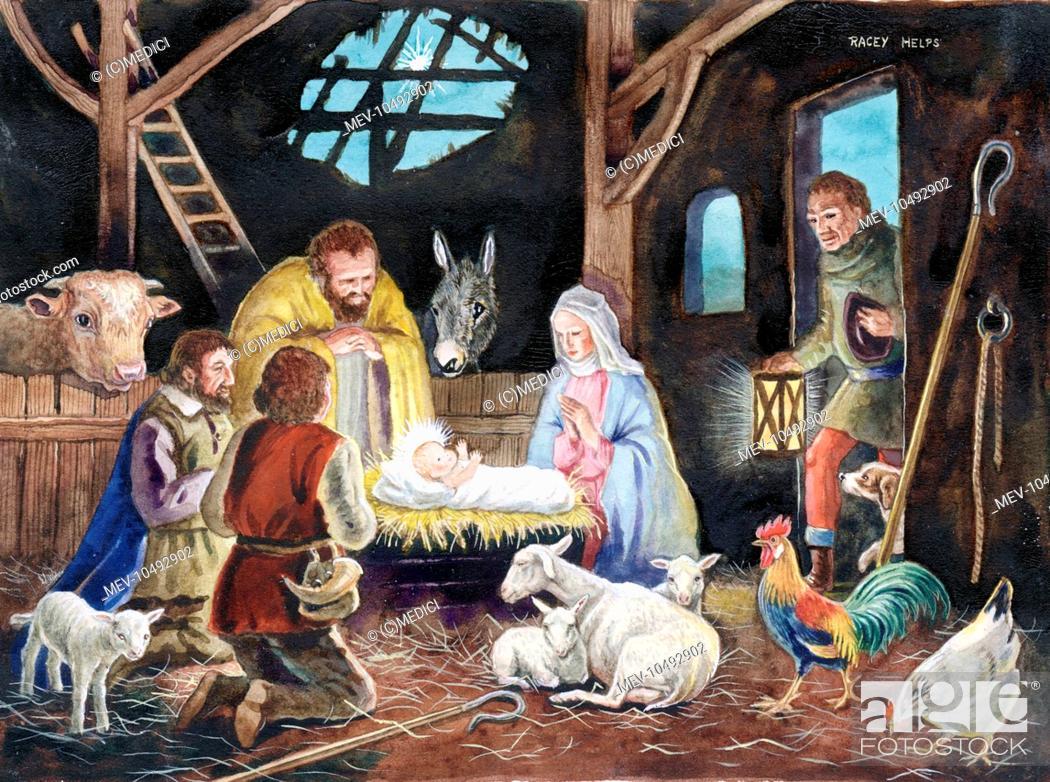 Christmas Shepherds.Christmas Nativity Scene With Shepherds And Animals Stock