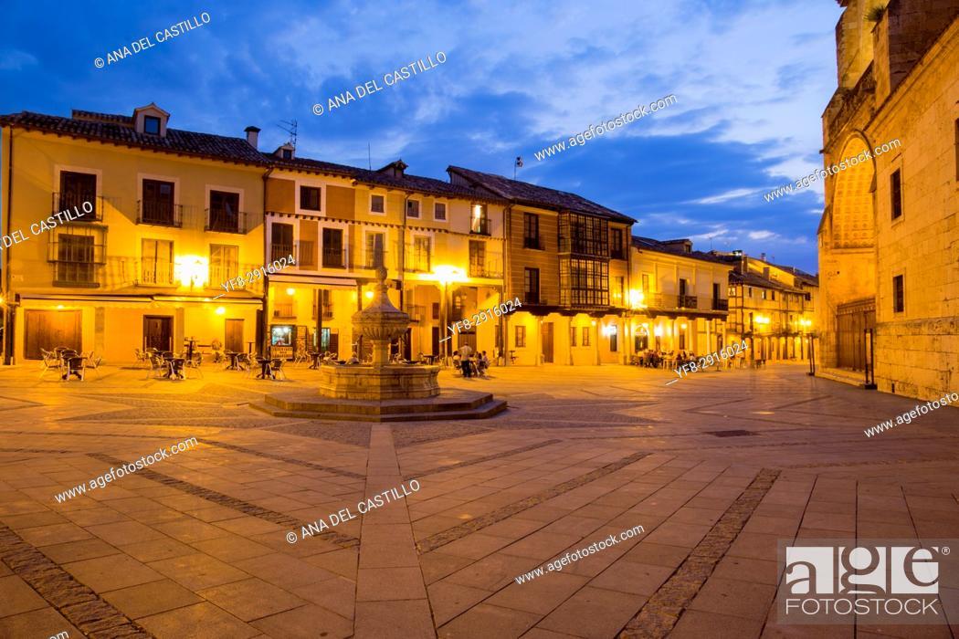 Stock Photo: Cathedral by dusk in Burgo de Osma village Soria province Castile Leon Spain on June 11, 2017.