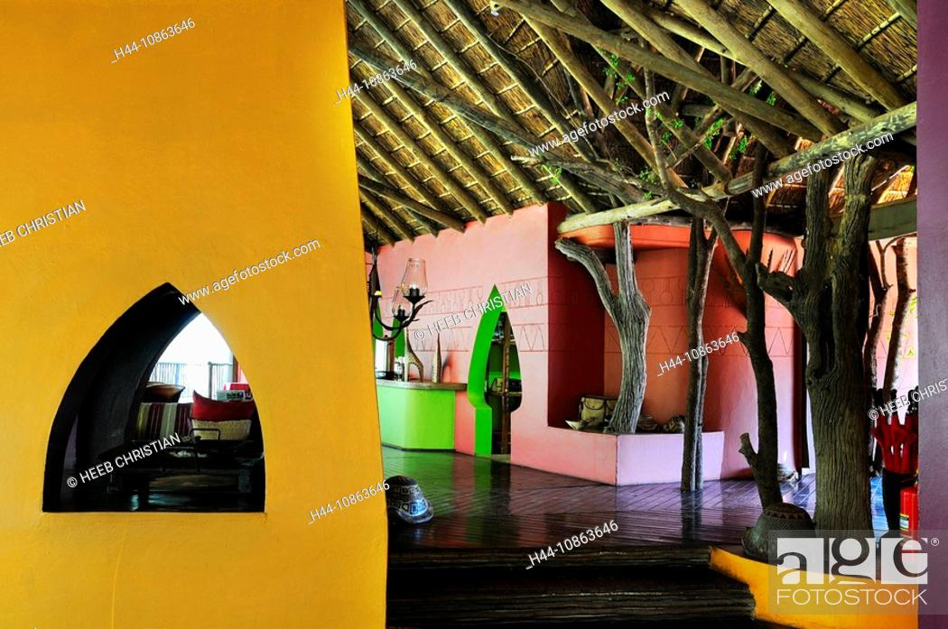 Stock Photo: Public area, Jaci's Tree Lodge, Madikwe Game Reserve, North West, South Africa, indoors, indoor, special, architecture, colorful, colourful, modern, hotel.