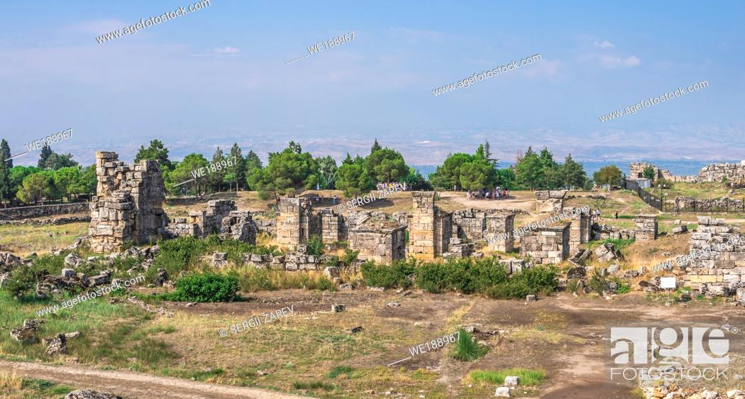 Stock Photo: The ruins of the ancient city of Hierapolis in Pamukkale, Turkey, on a sunny summer day.