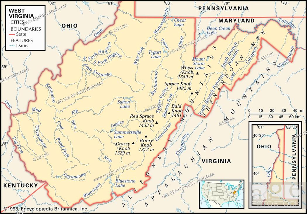 Physical map of the state of West Virginia showing mountain ranges ...