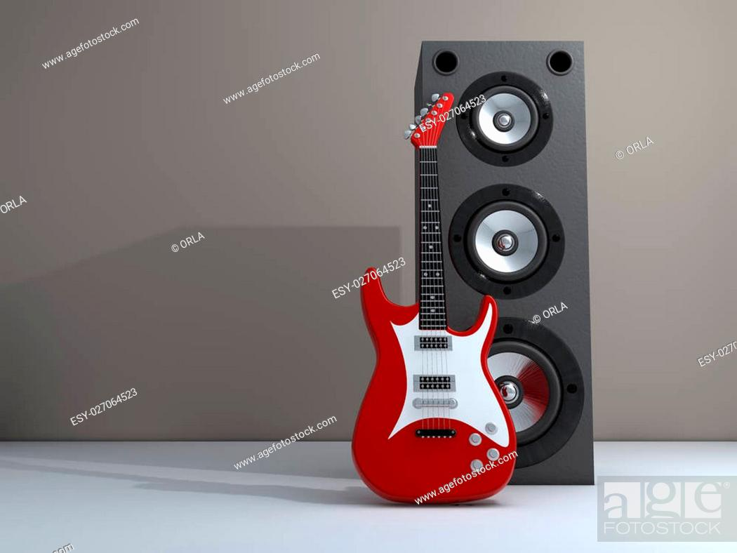 Stock Photo: An electric guitar and a speaker - rendered in 3d.