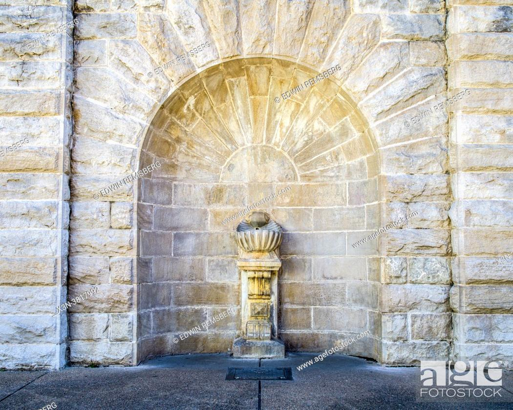 Stock Photo: Marble sculpture built into the side of bath house in Hot Springs, Arkansas.