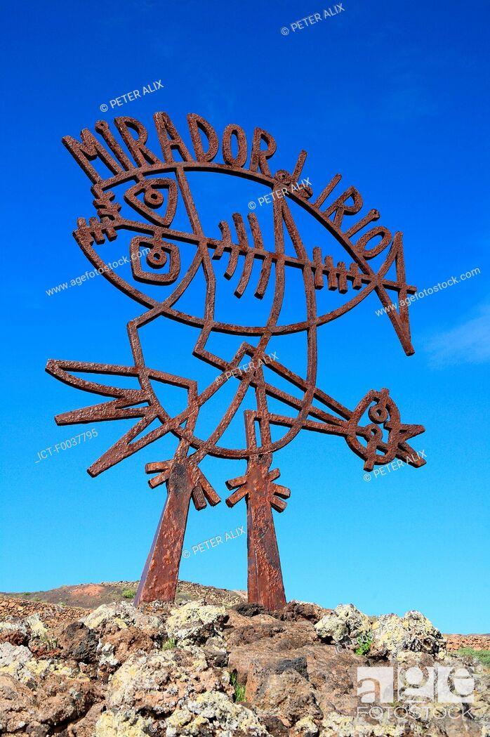 Stock Photo: Spain, Canary islands, Lanzarote, Mirador del Rio, sculpture.