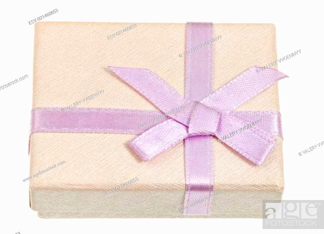 Stock Photo: small shining gift box with pink bow.