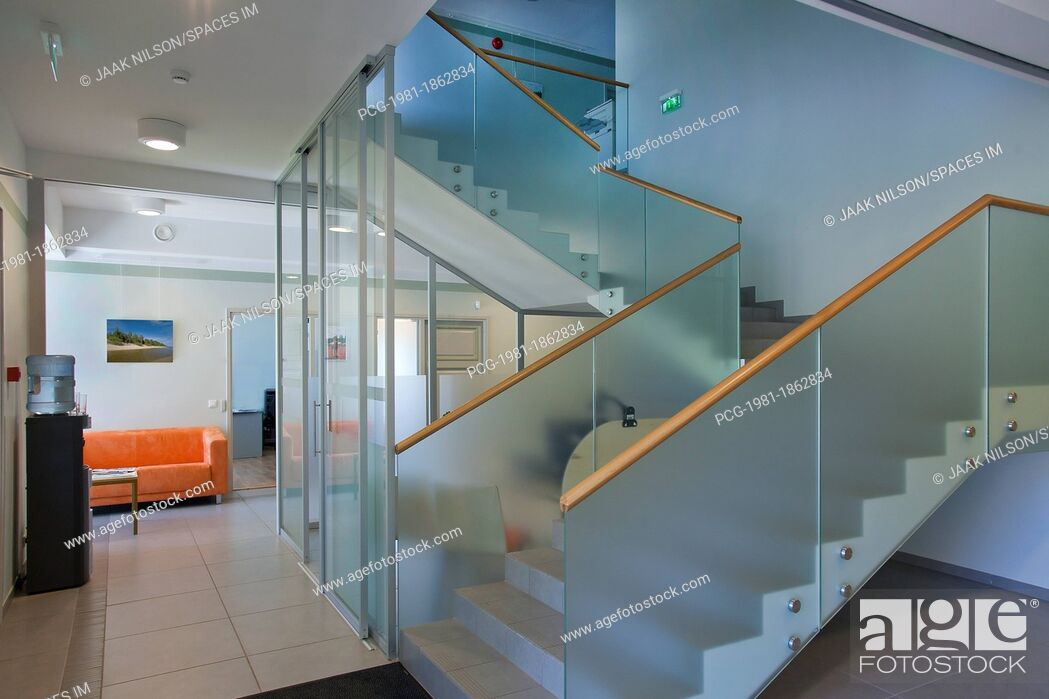 Stock Photo: Stairwell in Upscale Home.