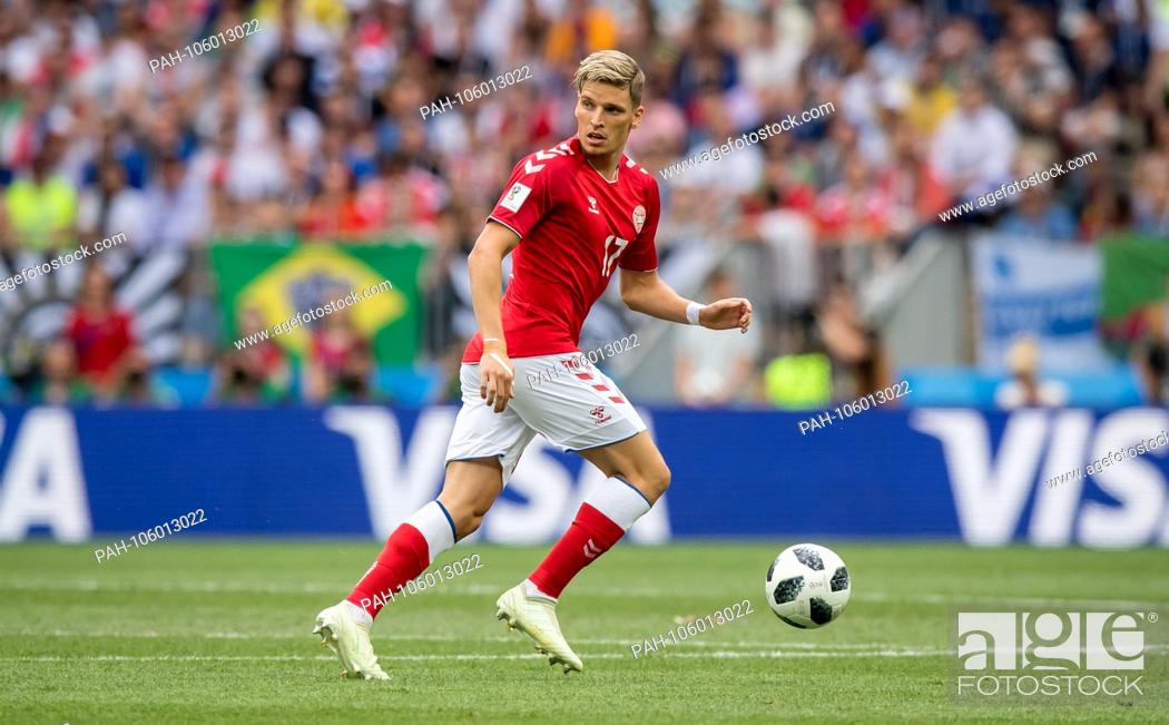Stock Photo: Jens Stryger Larsen (Denmark) on the ball GES / Football / World Championship 2018 Russia: Denmark - 26.06.2018 GES / Soccer / Football / Worldcup 2018 Russia:.