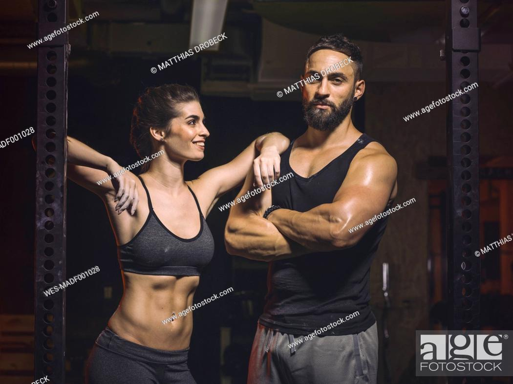 Stock Photo: Fitness, couple in gym.