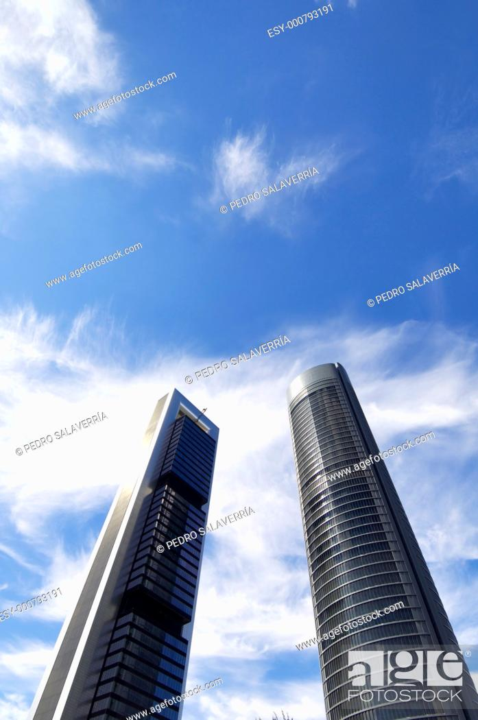 Stock Photo: futuristic view of two skyscrapers in the city of Madrid, Spain.