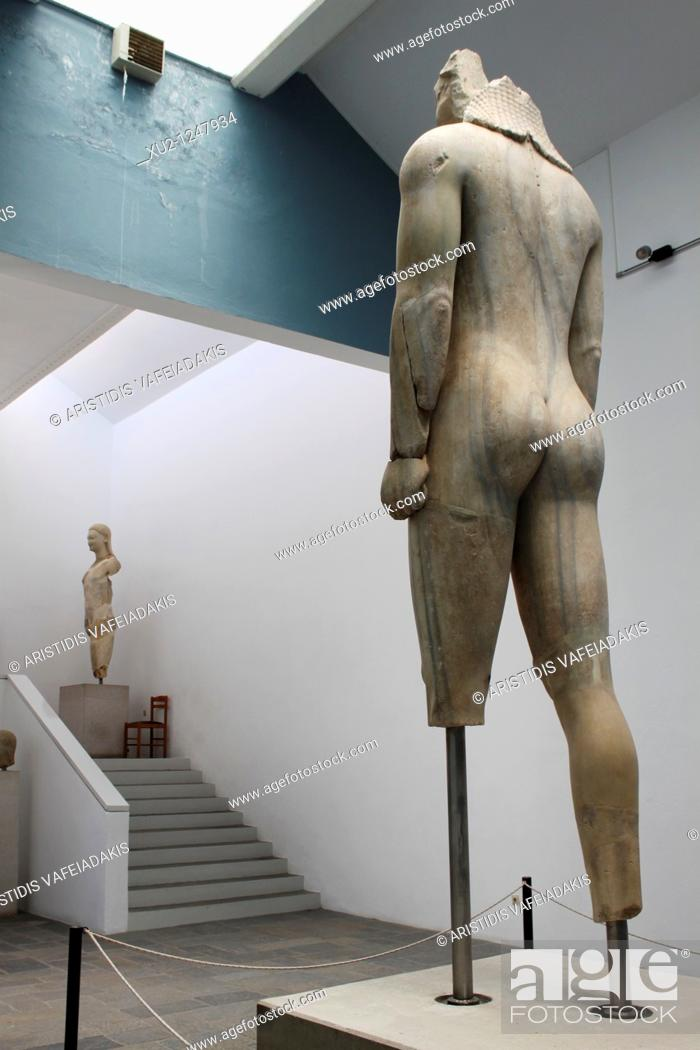 Stock Photo: Colossal statue of a Kouros from the Heraion in Samos island Greece.