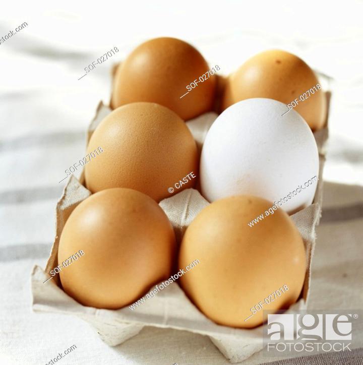 Stock Photo: box of eggs.